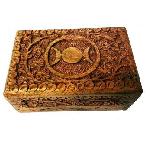 Triple Moon Wooden Box