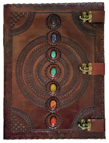 Large Chakra Stones Leather Journal - The Hippie House