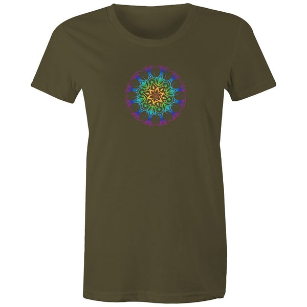 Women's Yoga Coloured Mandala Pattern T-shirt - The Hippie House