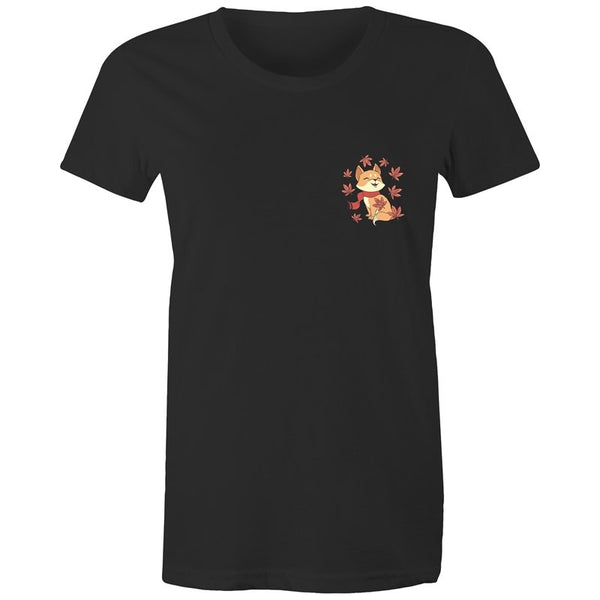 Women's Cute Spring Fox Pocket T-shirt - The Hippie House
