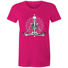 Women's Meditating Skeleton T-shirt - The Hippie House