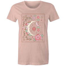 Women's Sleeping Moon T-shirt - The Hippie House