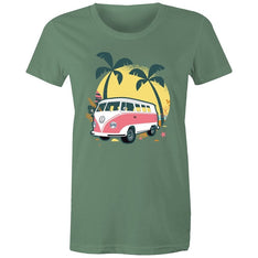 Women's Beach Kombi Van T-shirt - The Hippie House