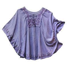 Acid Wash Embroidered Poncho Top - The Hippie House