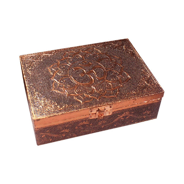 Aluminium Copper Plated Om In Lotus Box - The Hippie House