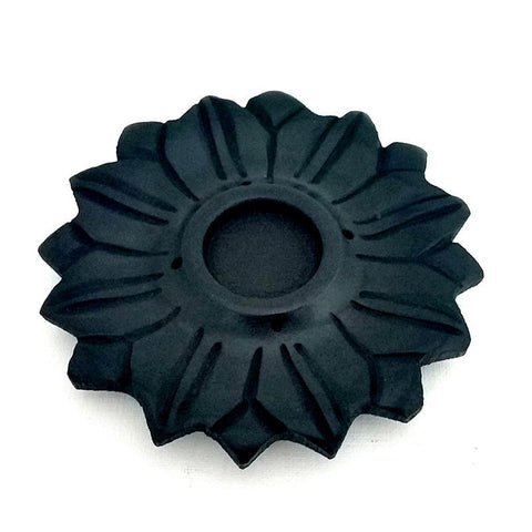 Black Stone Lotus Incense Holder - The Hippie House