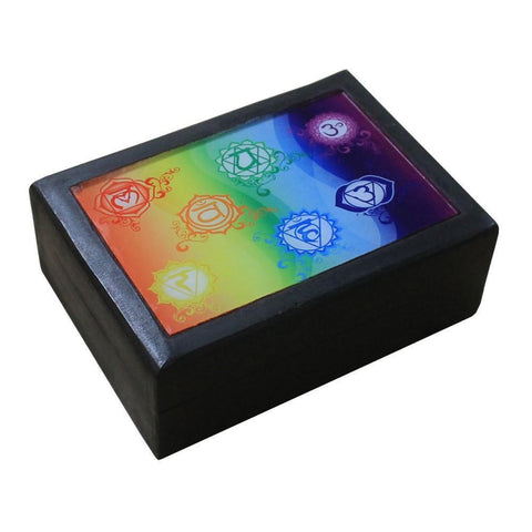Black Wooden Box With 7 Chakra Print - The Hippie House