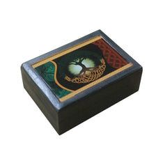 Black Wooden Box With A Tree Of Life Print - The Hippie House