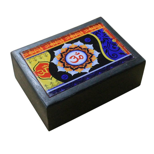 Black Wooden Box With Colourful Om Print - The Hippie House