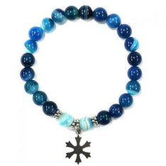 Blue Agate Crystal Bracelet With Stainless Steel Snow Flake - The Hippie House