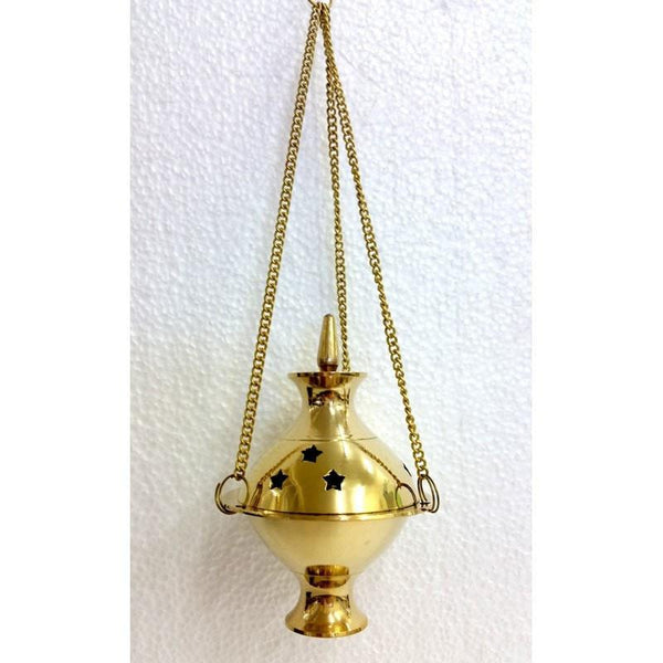 Brass Charcoal Holder - Hanging Censer Small - The Hippie House