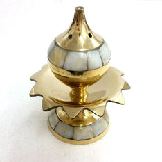Brass Incense Holder - Pearled Lotus - The Hippie House