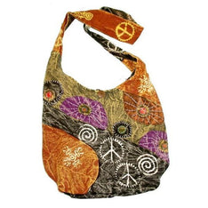 Distressed Hobo Bag With Peace Signs - The Hippie House