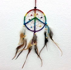 Raindbow Peace Sign Dream Catcher - The Hippie House