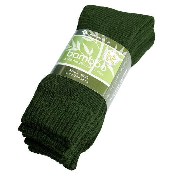Extra Thick Green Bamboo Socks - 3 Pack - The Hippie House