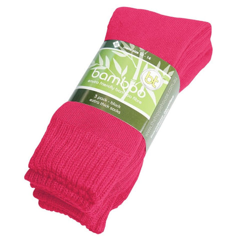 Extra Thick Hot Pink Bamboo Socks - 3 Pack - The Hippie House