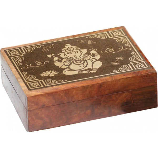 Ganesha Carved Wooden Box - The Hippie House