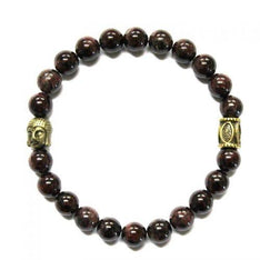 Garnet Crystal Bracelet With Golden Buddha Head - The Hippie House