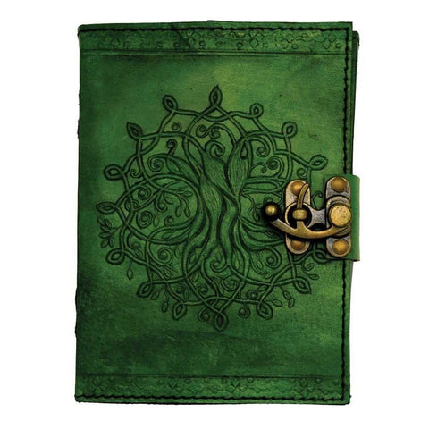 "Green Tree of Life ""Mandala"" Leather Journal - The Hippie House"