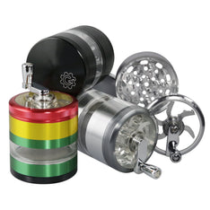 Grindhouse™ 4pc Aluminum Grinder With Crank - Various Colours - The Hippie House