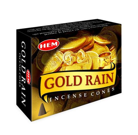 HEM - Gold Rain - 120 Incense Cones - The Hippie House