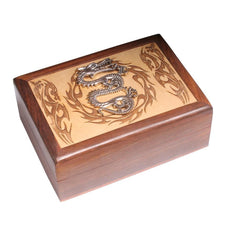 Laser Engraved Wooden Box With Dragon Design - The Hippie House
