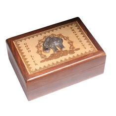 Laser Engraved Wooden Box With Elephant Design - The Hippie House