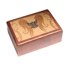 Laser Engraved Wooden Box With Metal Angel - The Hippie House