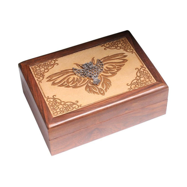 Laser Engraved Wooden Box With Metal Owl - The Hippie House