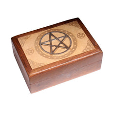 Laser Engraved Wooden Box With Metal Pentacle - The Hippie House