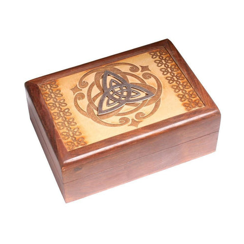 Laser Engraved Wooden Box With Triquetra Design - The Hippie House