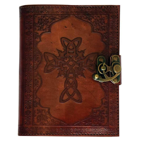 Leather Embossed Celtic Cross Journal - The Hippie House