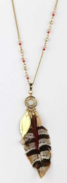 Necklace Feather Gold - The Hippie House