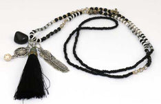 Necklace Feather Tassel Black - The Hippie House