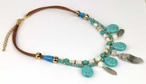 Necklace Feather Turquoise - The Hippie House