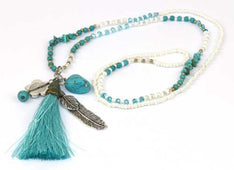 Necklace Tassel Aqua - The Hippie House
