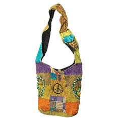 Nepal Patchwork Shoulder Bag With Peace Signs - The Hippie House