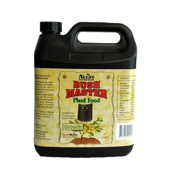 Nulife Bush Master Grow - 4L - Soil Nutrient - The Hippie House