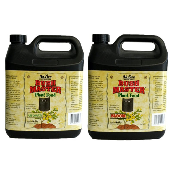 Nulife Bushmaster Grow + Bloom Nutrient Set - 4L - The Hippie House