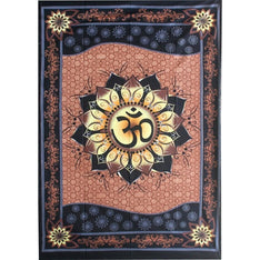Om in Lotus Tapestry - The Hippie House
