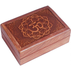 Om in Lotus Wooden Box - The Hippie House