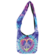 Peace / Heart Designed Tie Dye Shoulder Bag - The Hippie House
