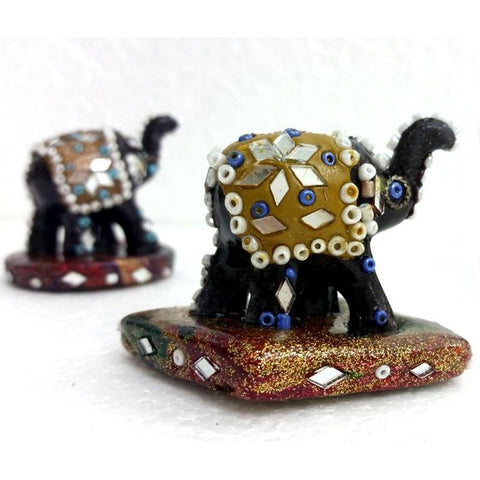 Resin Mirrorwork Holder - Elephant - The Hippie House