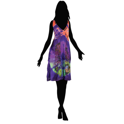 Short Tie Dye Elastic Dress - The Hippie House