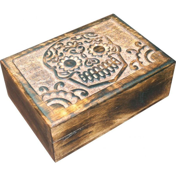 Skull Carved Wooden Box - The Hippie House