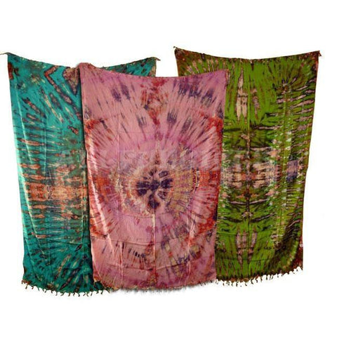 Tie-Dye Sarong With Fringe - Assorted Colours - The Hippie House