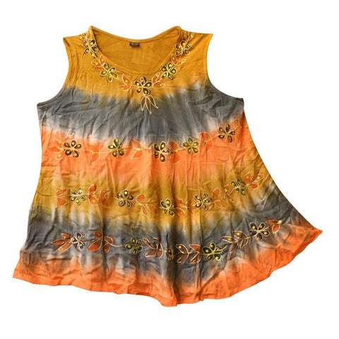 Tie Dye Flower Sequin Tank Top - The Hippie House