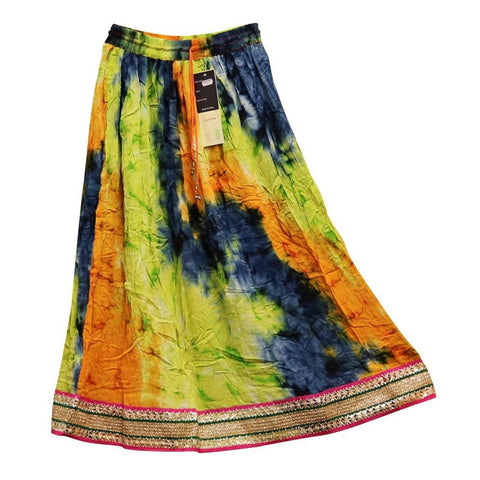 Tie Dye Skirt With Embroidery & Sequins - Free Size - The Hippie House