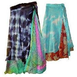 Two-Layer Sari Material Wrap Skirt - The Hippie House