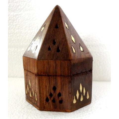 "Wooden Cone Burner - 5"" Pyramid Box - The Hippie House"